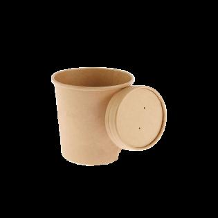 [湯碗] 12oz牛皮紙湯碗及蓋 (原箱500件)