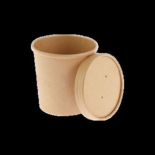 [湯碗] 16oz牛皮紙湯碗及蓋 (原箱500件)