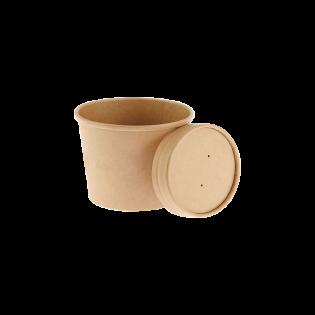 [湯碗] 8oz牛皮紙湯碗及蓋 (原箱500件)